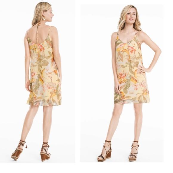 White House Black Market Dresses New Whbm Slip Dress Yellow Floral
